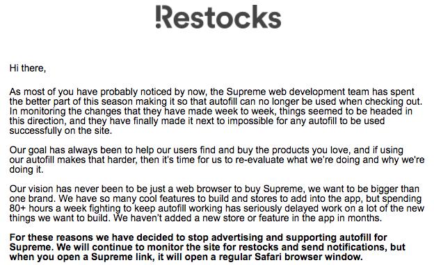Restocks News